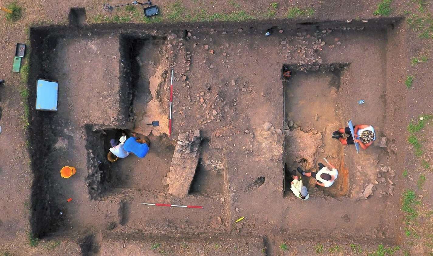 Water Newton small town excavation trench